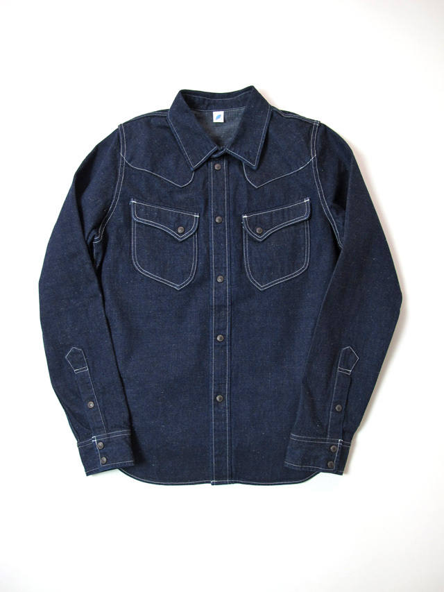 [2197] 8oz. Selvedge Denim Rounded Pocket Western Shirt (Indigo)