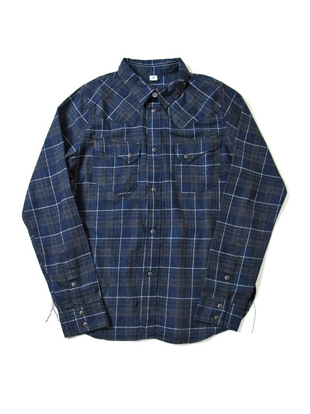 [2198 C#1] Indigo Check Flannel Western Shirt (C/#1)