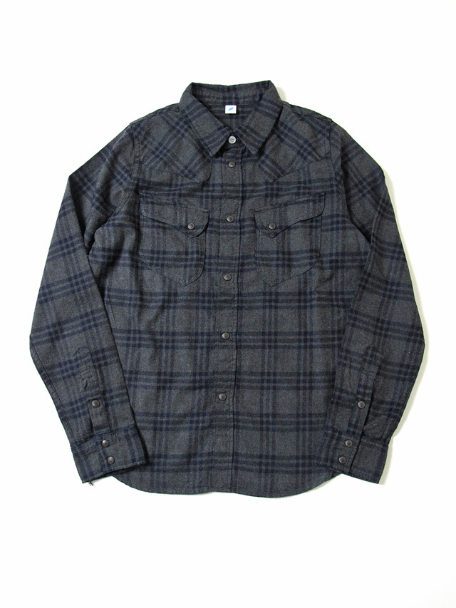 [2198 C#2] Indigo Check Flannel Western Shirt (C/#2)