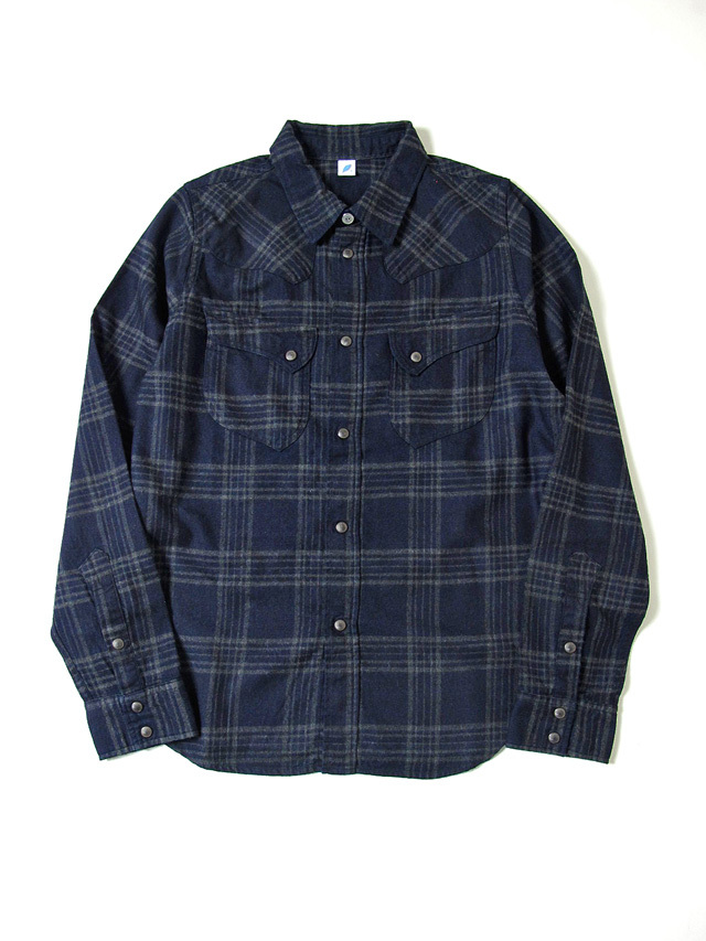 [2198 C#3] Indigo Check Flannel Western Shirt (C/#3)