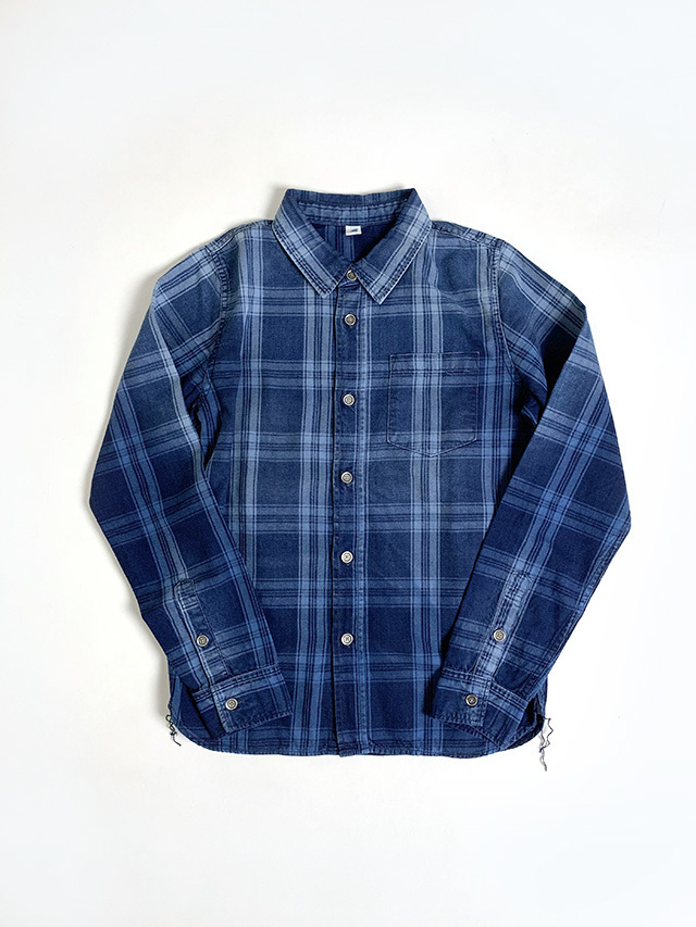 [2203 C/#1] Sunburned Indigo Check Shirt (C/#1)