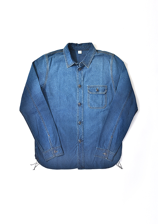[2205] Sunburned Double Indigo Chambray Work Shirt