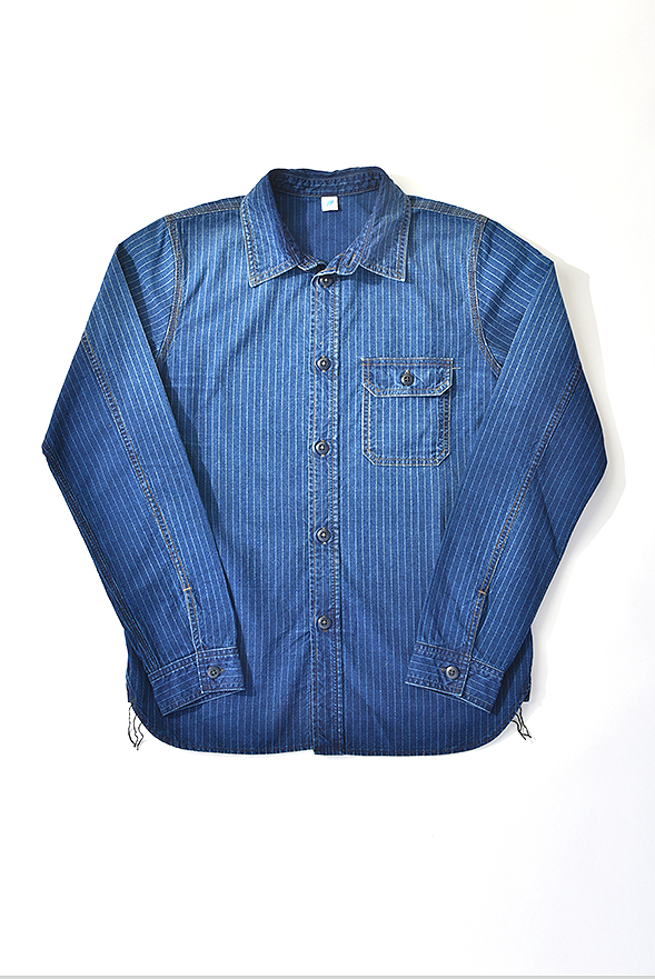 [2206] Sunburned Pinstripe Chambray Work Shirt