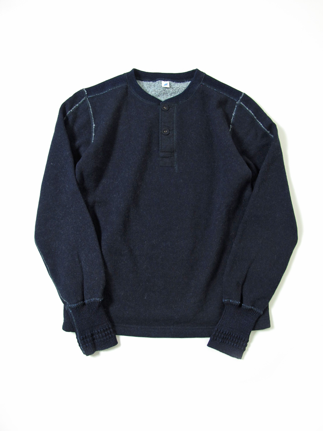 [5362] Indigo Raised Back Military Henley Sweatshirt