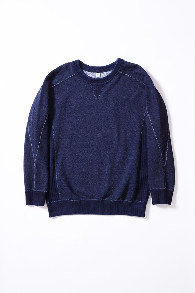 [5377] Knit Twill Indigo Sweatshirt