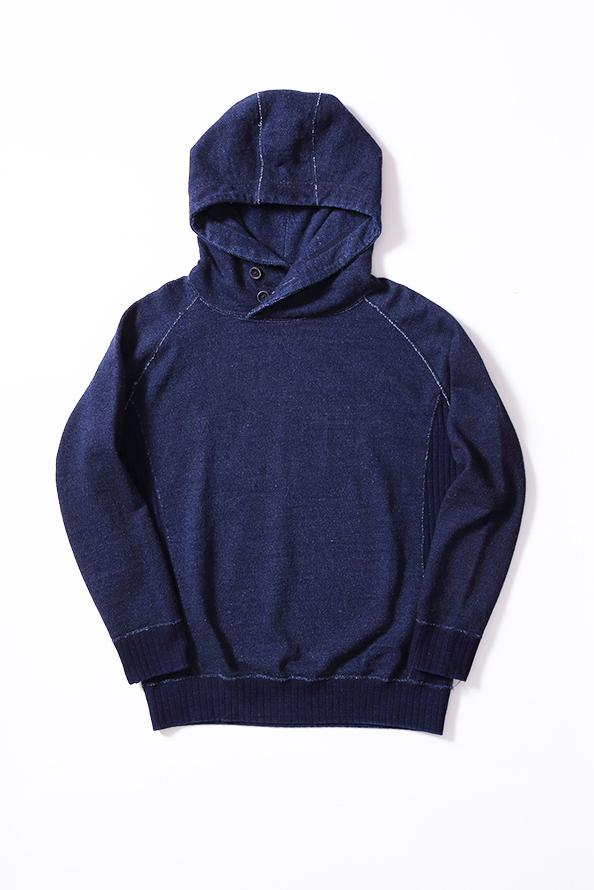 [5378] Knit Twill Indigo Hoodie
