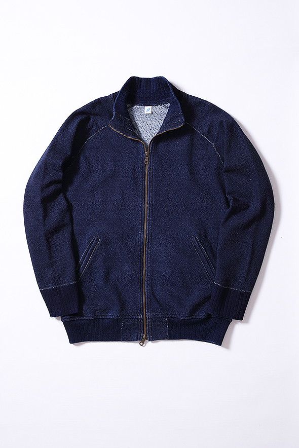 [5379] Knit Twill Indigo Full Zip Sweatshirt