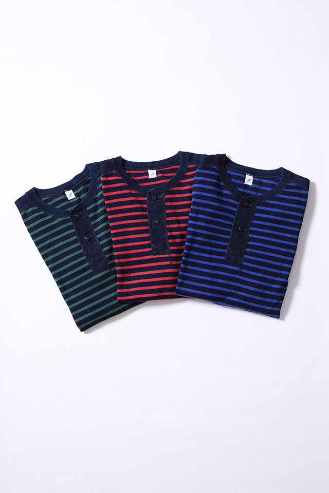 [5382] Hemp Blend Indigo Stripe Henley T-Shirt