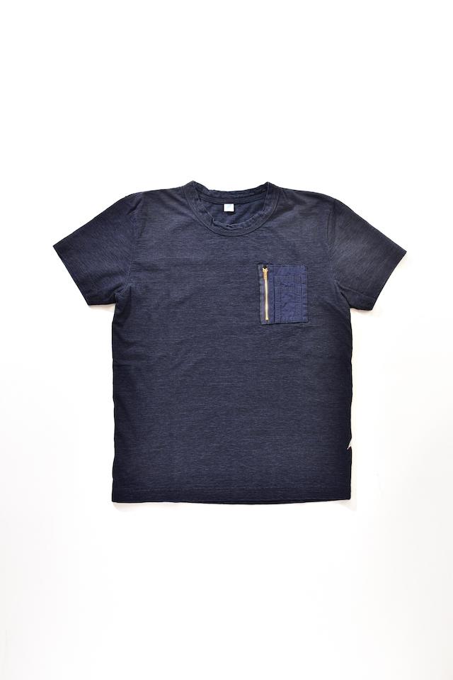 [5385] Indigo Jersey T-shirt with Cigarette Pocket