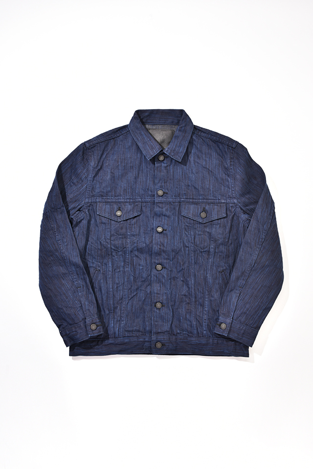 [6071] 17.5oz. Natural Indigo x Sumi Ink Hand Dyed Denim Type 3 Jacket