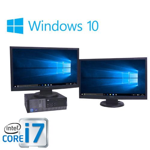 中古パソコン  Windows10 Home 64bit/デュアルモニタ 23型フルHD液晶/DELL 7010SF/Core i7 3770(3.4GHz)/メモリ8GB/HDD500GB/DVDマルチ/0123D