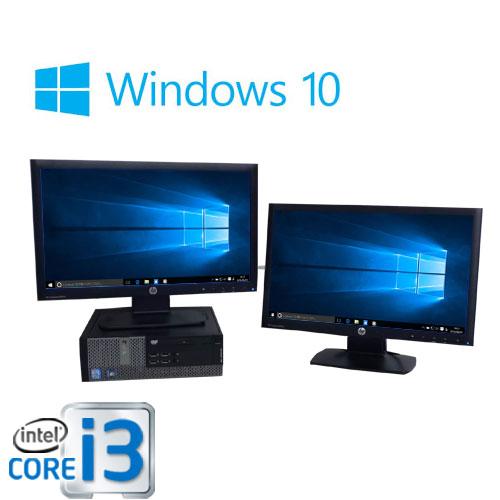 中古パソコン デュアル20型ワイド液晶/DELL 7010SF /Core i3 3220(3.3GHz)/メモリ4GB/HDD250GB/DVDマルチ/Windows10Home 64bit/0358D