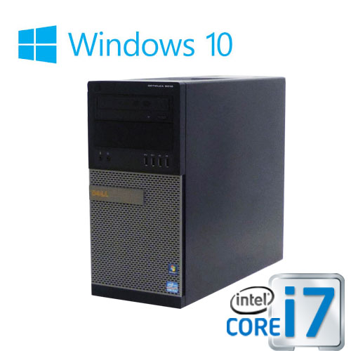 中古パソコン ゲ-ミングPC DELL optiplex 9020MT/新品GeforceGT1030 HDMI DVI/Core i7 4770(3.4Ghz)/メモリ8GB/HDD1TB/DVDマルチ/Windows10 Home 64bit/0758g