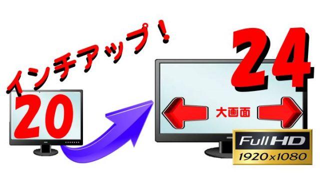 (20インチ付PC同時購入限定) 24インチFullHDにサイズアップして出荷(中古)
