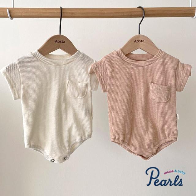 ベビー ベビー服 ロンパース リブ 半袖 春夏秋 女の子 子ども 子供服 Pearls パールズ