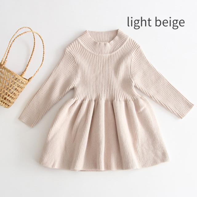 ベビー ベビー服 リブ 暖かい 長袖 ワンピース 春秋冬 女の子 子ども Pearls パールズ