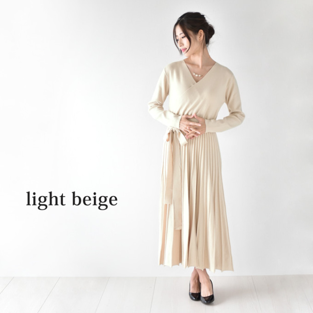 Pearls パールズ 授乳服 マタニティ ワンピース 秋冬 フォーマル ニットワンピ ロング