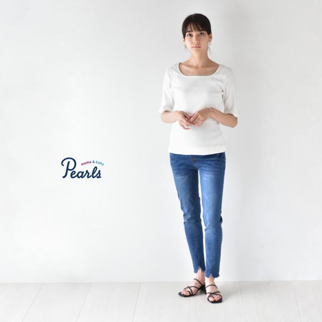Pearls パールズ マタニティ スキニーデニム カットオフ ダメージ デニム スキニー