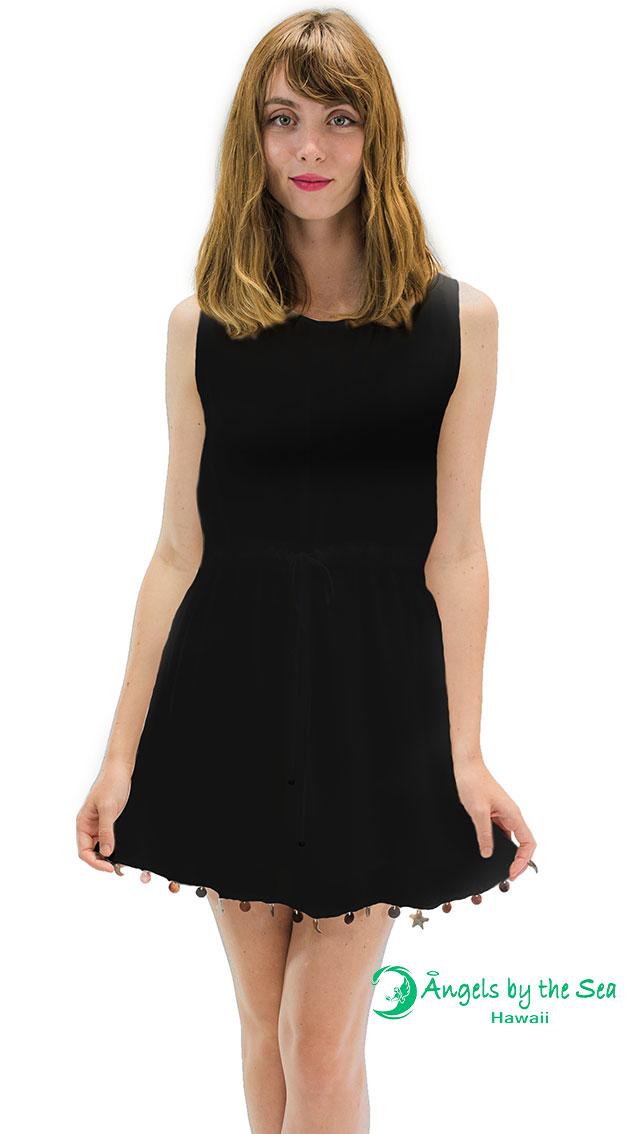 【ハワイ直輸入】エンジェルズ・バイ・ザ・シー・ハワイ ノースリーブショートドレス ブラック(Abalone Fringe Short Dress)