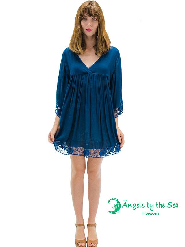 【ハワイ直輸入】エンジェルズ・バイ・ザ・シー・ハワイ ショートドレス ティール(Poliahu Short Dress)