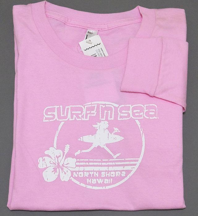 レディース長袖Tシャツ(Surf n Sea ハイビスカス/ピンク)