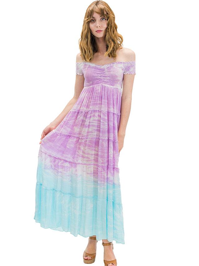 【ハワイ直輸入】エンジェルズ・バイ・ザ・シー・ハワイ ロングドレス アクア(Nikole Long Dress in Cloud)