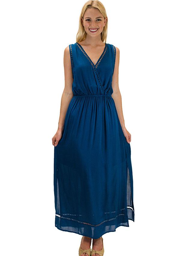 【ハワイ直輸入】エンジェルズ・バイ・ザ・シー・ハワイ ロングドレス ティール(Nahele Long Dress)
