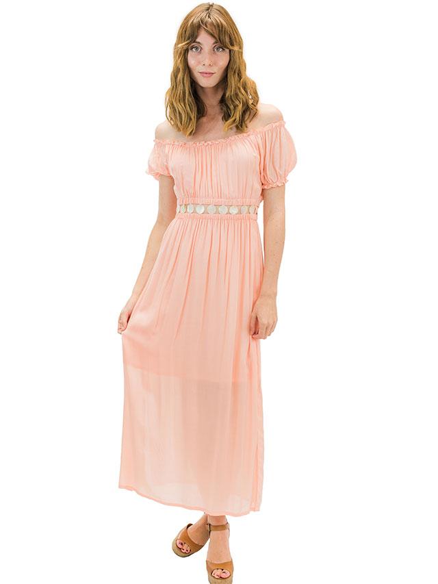 【ハワイ直輸入】エンジェルズ・バイ・ザ・シー・ハワイ エンジェルロングドレス コーラルピンク(Angel Long Dress)