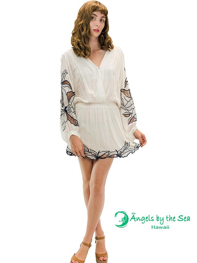 【ハワイ直輸入】エンジェルズ・バイ・ザ・シー・ハワイ ショートドレス ホワイト(Kilia Short Dress)