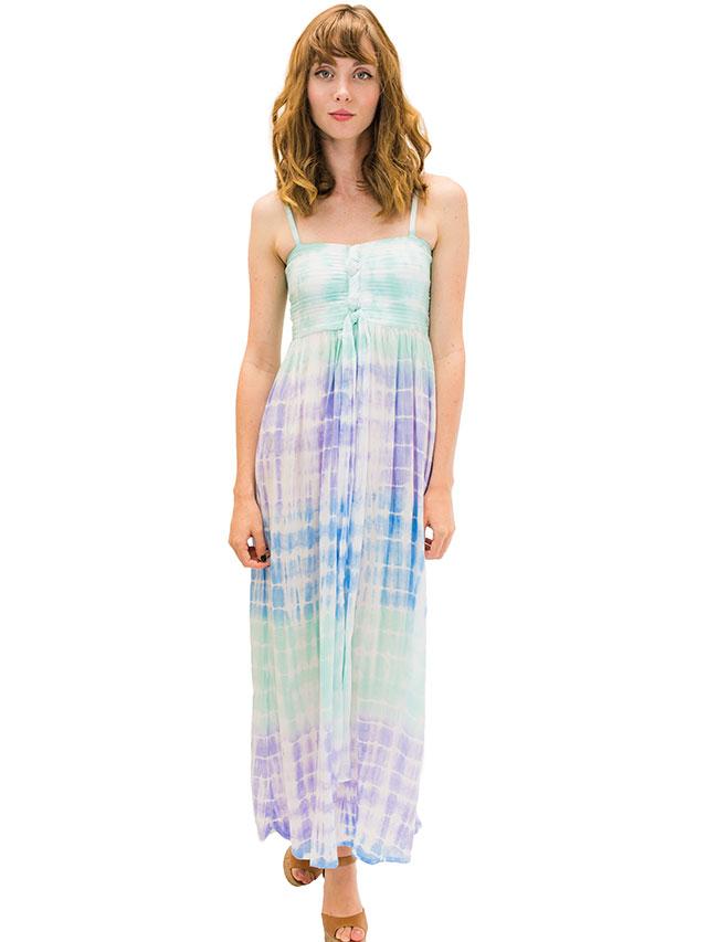 【ハワイ直輸入】エンジェルズ・バイ・ザ・シー・ハワイ ロングドレス アクア(Lani Long Dress in Rain)