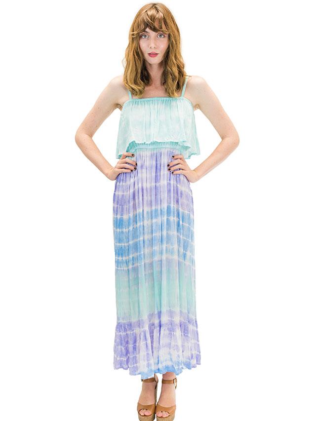 【ハワイ直輸入】エンジェルズ・バイ・ザ・シー・ハワイ ロングドレス アクア(Moana Long Dress in Rain)