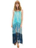 【ハワイ直輸入】エンジェルズ・バイ・ザ・シー・ハワイ ロングドレス ブルー(Leilani Dress in Rain)