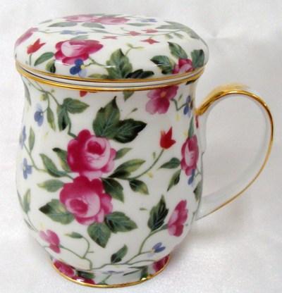 フローラル ローズ茶こし付マグカップ