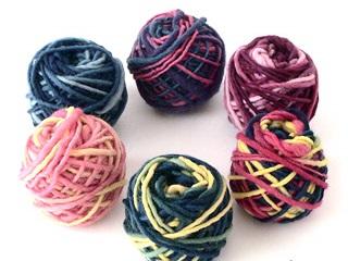 レインボー草木染め毛糸6色セット(60g)
