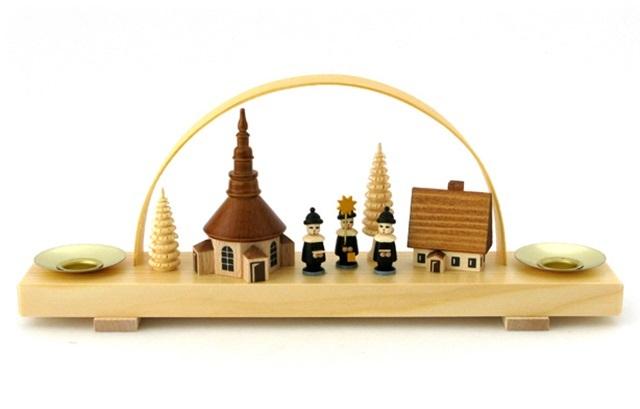【837-B】Albin Preisslerアルビンプライスラー/ロウソク立てアーチ付き・教会、家、木、3人の修道士