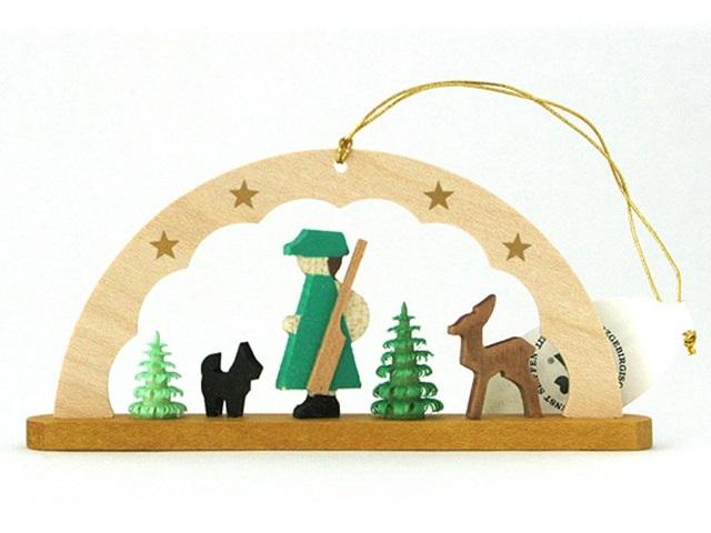 Albin Preisslerアルビンプライスラー/アーチ付き木の人形のオーナメント ・猟師、犬、鹿、木