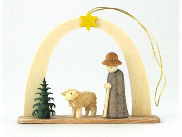 Albin Preisslerアルビンプライスラー/アーチ付き木の人形のオーナメント ・羊飼と羊