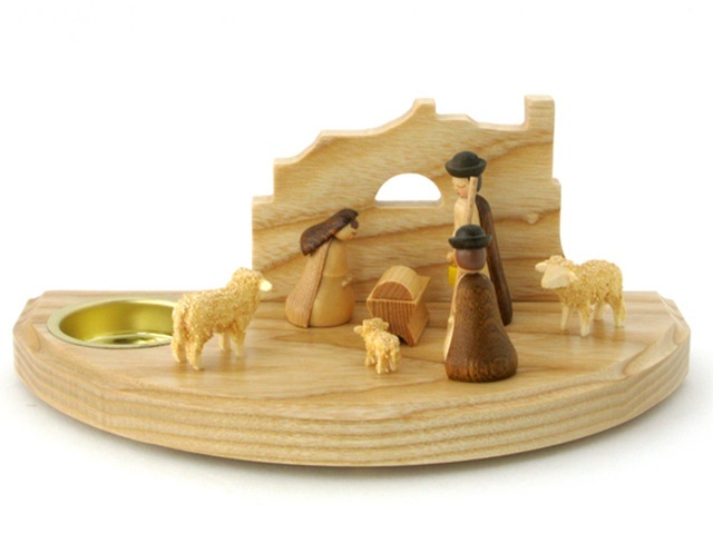 Albin Preisslerアルビンプライスラー/ティーライトスタンド・イエスの生誕と羊飼いと羊