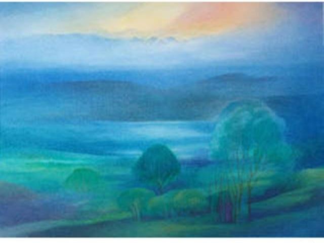【460-6】アレキサンダー・ヴィンター/絵のギャラリー<ボーデン湖の風景/水彩 >