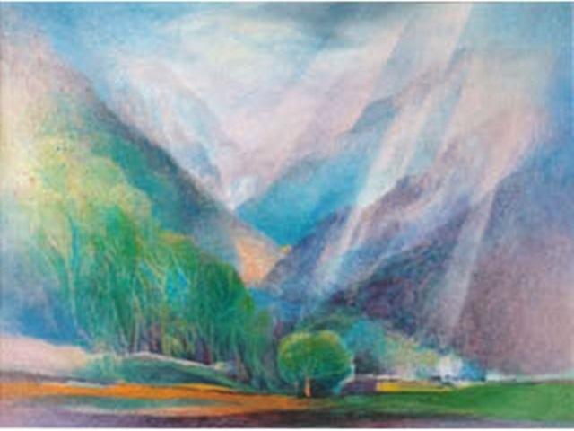 【460-8】アレキサンダー・ヴィンター/絵のギャラリー<イタリアアルプスの谷 >