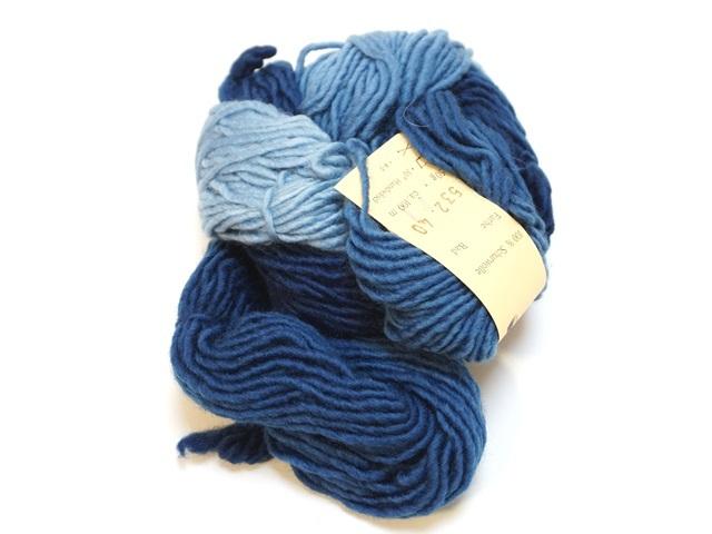 【470-B】レインボー草木染め毛糸(50g 青のコントラスト )