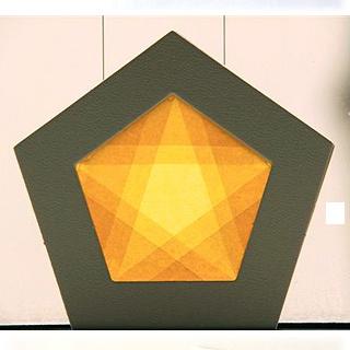 【605-B】五角形枠の手づくりキット/イエロー/グレー枠