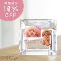 【今なら10%OFF】ペット位牌 写真が2枚入る スクエアクリスタル メモリアル ペット供養 ガラス
