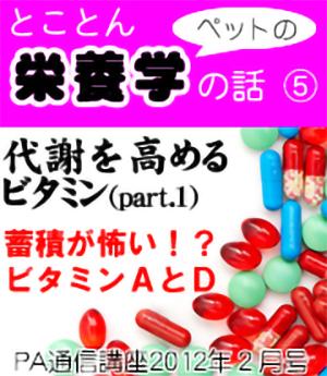 2012年1月号「とことんペットの栄養学の話~代謝を高めるビタミン(part1)」