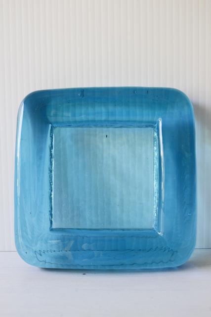 北欧ヴィンテージ/ハンドメイド/ガラスの角皿/アクアブルー/SOLD OUT