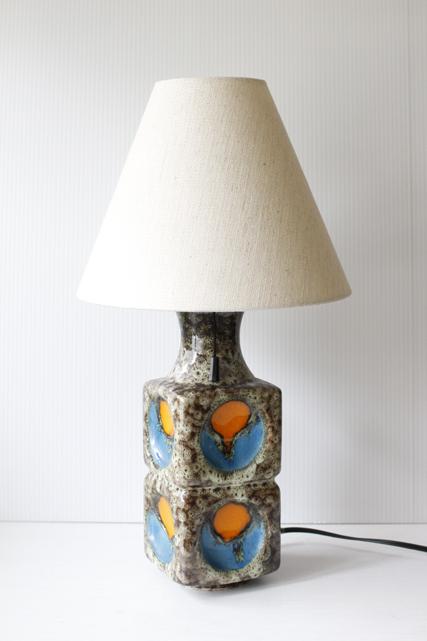 北欧照明/ヴィンテージテーブルランプ/オレンジ×ブルー×ブラウン