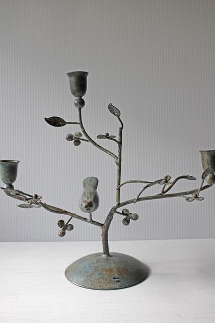 北欧ヴィンテージ/燭台/小花咲く枝にとまる鳥/SOLD OUT