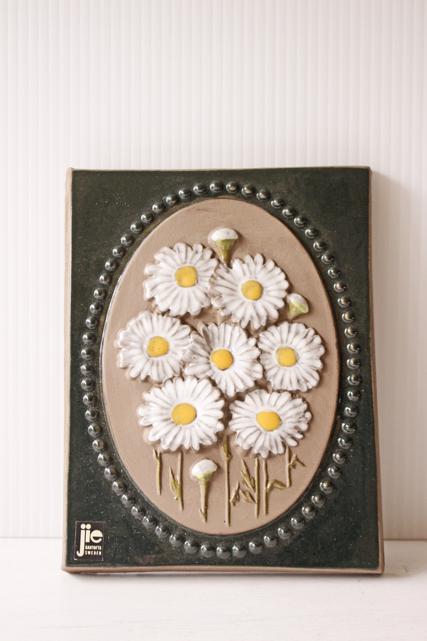 北欧ヴィンテージ/jie gantofta社/陶板の壁掛け/白い色のお花/SOLD OUT