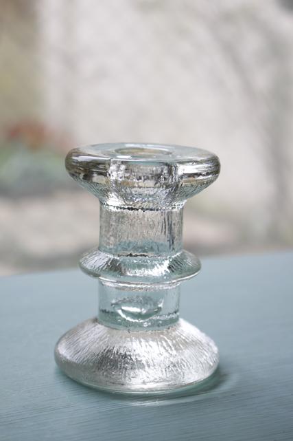 北欧ヴィンテージ/ガラスのキャンドルホルダー/クリアカラー/小/SOLD OUT