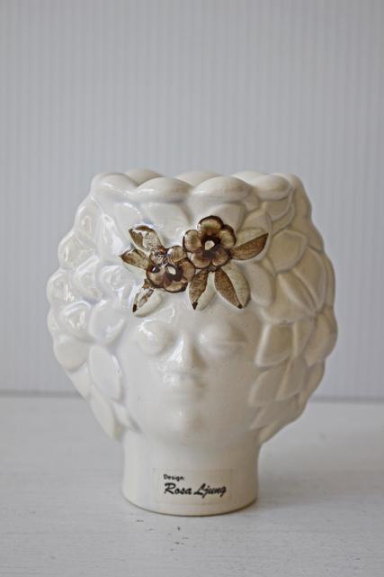 北欧ヴィンテージ/Rosa Ljung/陶器のキャンドルスタンド/女の子とお花
